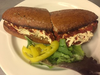 Vegan meatball sub; photo courtesy of Kitchen Factory