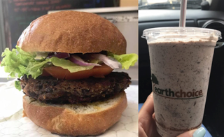 """Buns and Roses"" vegan burger; vegan ""Oreo Speedwagon;"" customer photos from Facebook and Yelp"